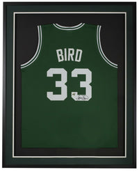 Larry Bird Signed Framed Custom Green Pro Style Basketball Jersey Bird Hologram - Sports Integrity
