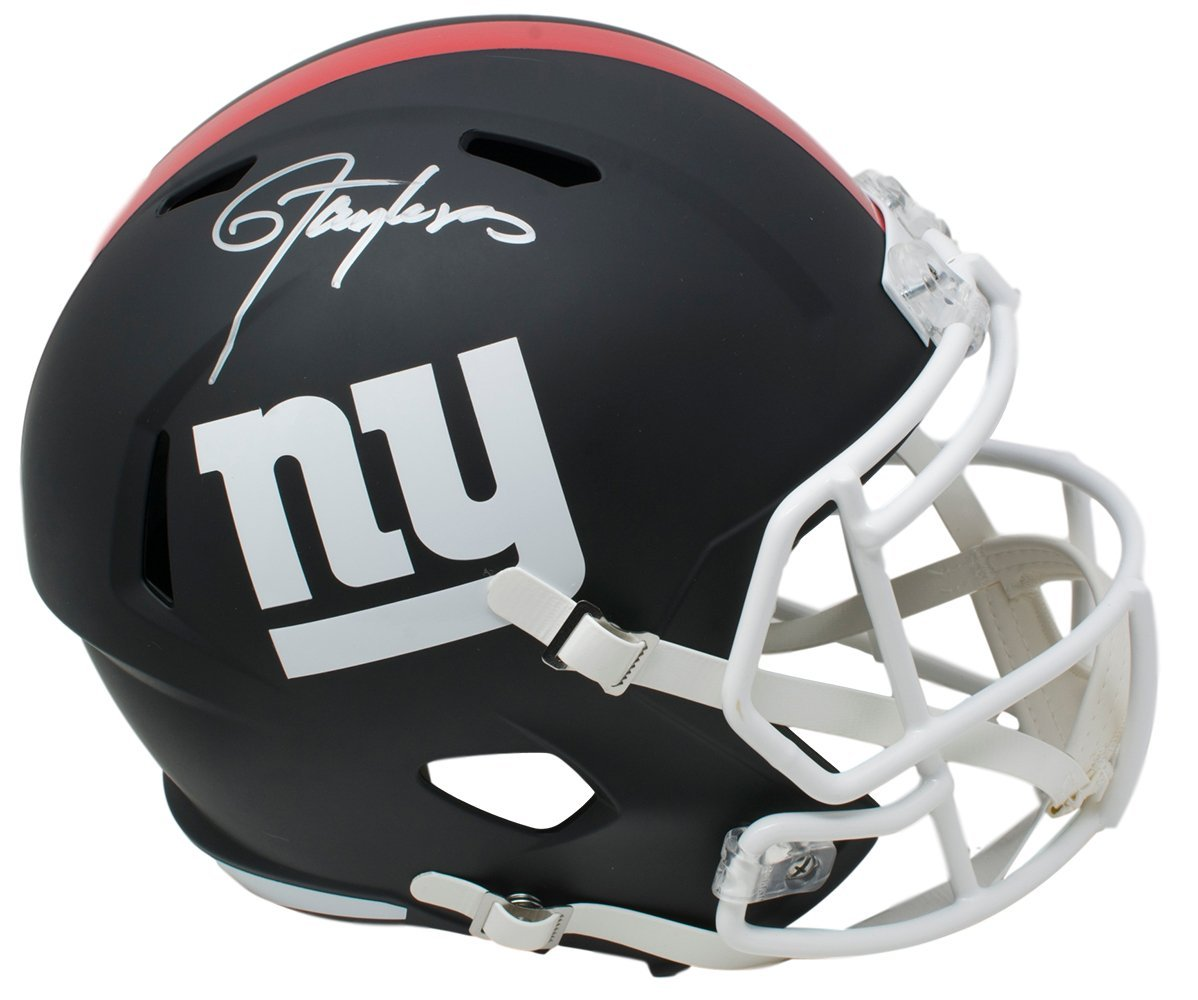 Lawrence Taylor Signed NY Giants Full Size Matte Black Speed Replica Helmet JSA - Sports Integrity