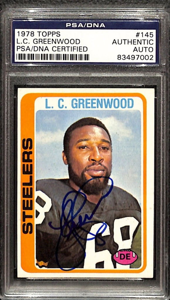 L.C. Greenwood Signed 1978 Topps #145 Pittsburgh Steelers Football Card PSA/DNA - Sports Integrity