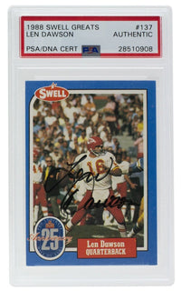 Lee Dawson Chiefs Signed 1988 Swell Greats #137 Slabbed Card PSA/DNA - Sports Integrity