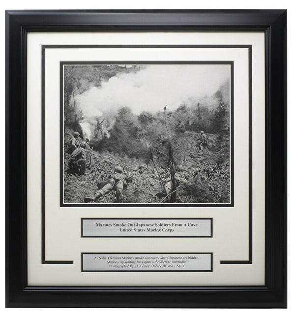 Marine Corps Smoke Out Japanese Soldiers Framed 17x18 WWII Photo - Sports Integrity