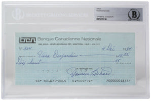Maurice Richard Signed Montreal Canadiens Personal Bank Check #264 BGS - Sports Integrity