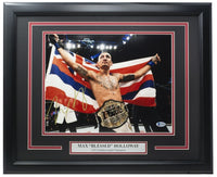 Max Blessed Holloway Signed Framed 11x14 Flag Photo BAS - Sports Integrity
