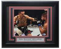Max Blessed Holloway Signed Framed 8x10 Photo vs. Jeremy Stephens BAS - Sports Integrity