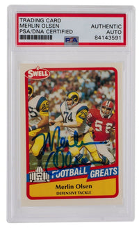 Merlin Olsen Rams Signed Slabbed 1989 Swell #116 Trading Card PSA/DNA - Sports Integrity