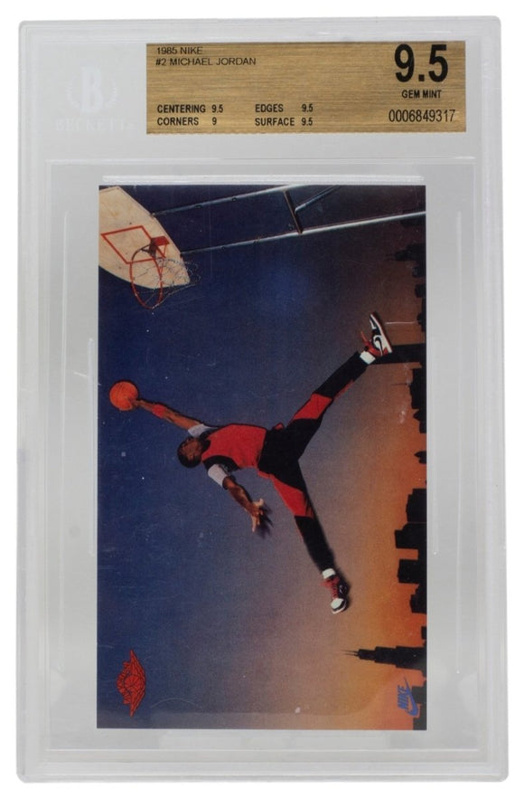 Michael Jordan 1985 Nike Promo #2 Chicago Bulls Card BGS GM MT 9.5 - Sports Integrity
