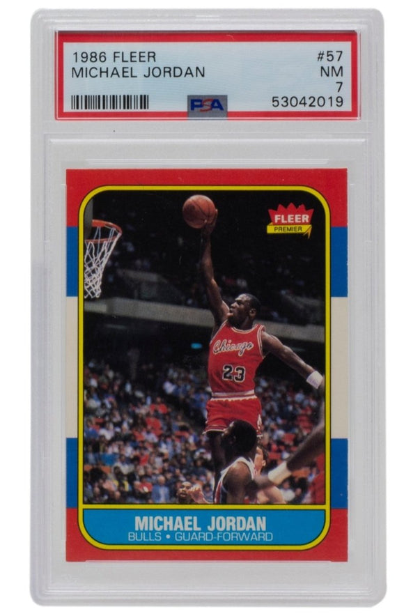 Michael Jordan 1986 Fleer #57 Chicago Bulls Basketball Card PSA NM 7 - Sports Integrity