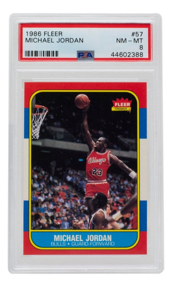Michael Jordan 1986 Fleer #57 Chicago Bulls Basketball Card PSA NM-MT 8 388 - Sports Integrity