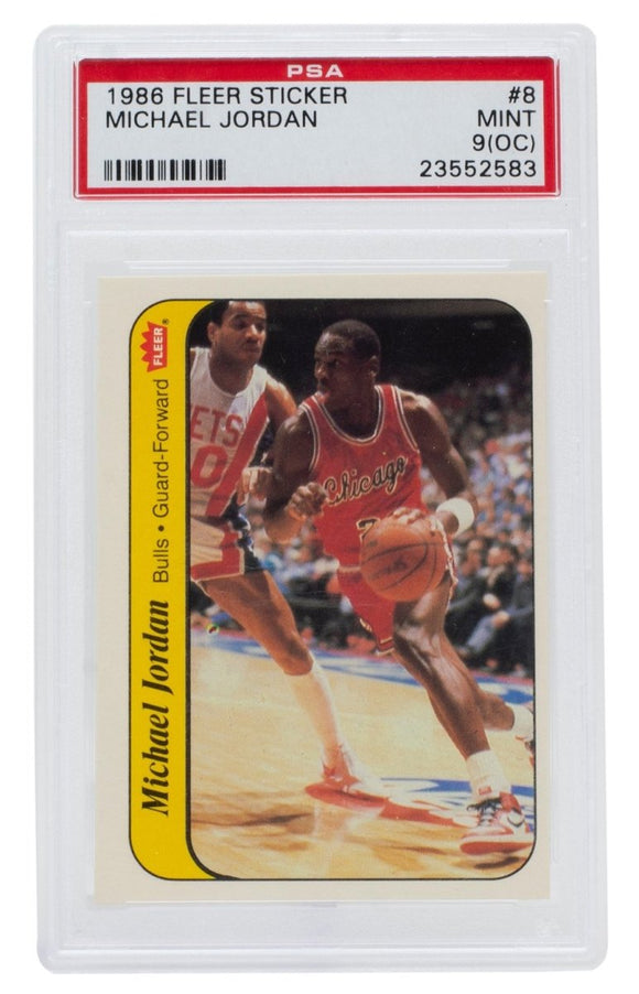 Michael Jordan 1986 Fleer #8 Chicago Bulls Sticker Rookie Card PSA MT 9(OC) 583 - Sports Integrity