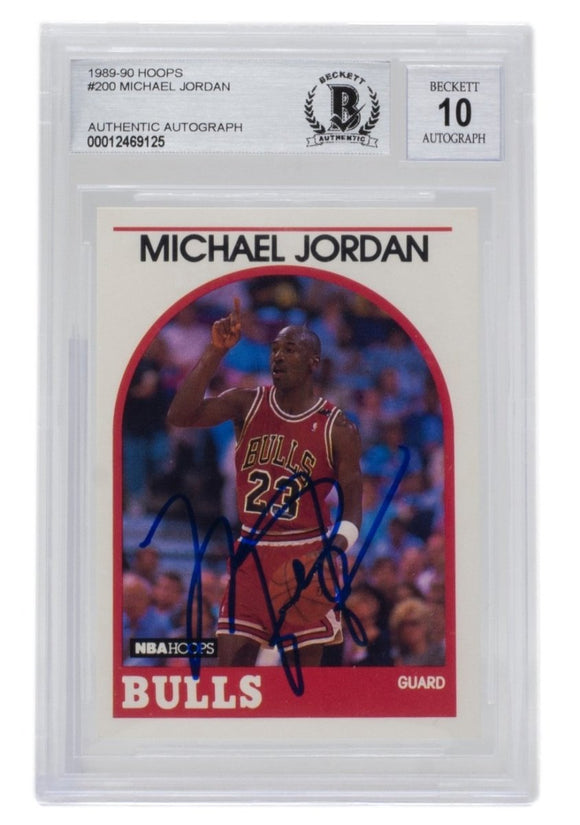 Michael Jordan Signed 1989 Hoops #200 Chicago Bulls Basketball Card BGS Auto 10 - Sports Integrity
