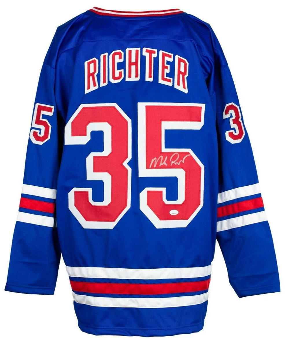 Mike Richter Signed Custom Blue Pro Style Hockey Jersey JSA ITP - Sports Integrity