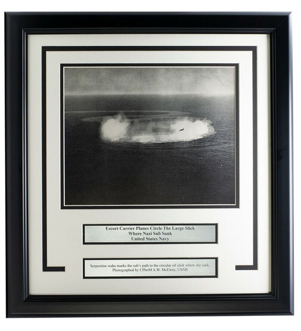 Navy Escort Planes Circle Sunken Nazi Sub Framed 17x18 WWII Photo - Sports Integrity