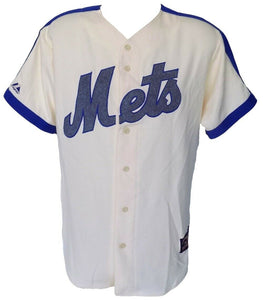 New York Mets Majestic Cooperstown Collection Cream Jersey Size Medium - Sports Integrity