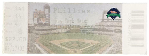 Philadelphia Phillies Sep 27 2005 vs NY Mets Ticket - Sports Integrity