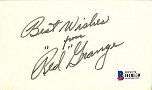 Red Grange Signed Chicago Bears Signature Cut BAS - Sports Integrity