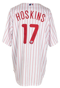 Rhys Hoskins Signed Philadelphia Phillies White Majestic Baseball Jersey BAS - Sports Integrity