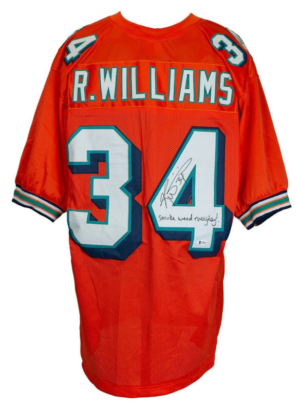 Ricky Williams Signed Orange Football Jersey Smoke Weed Everyday BAS - Sports Integrity