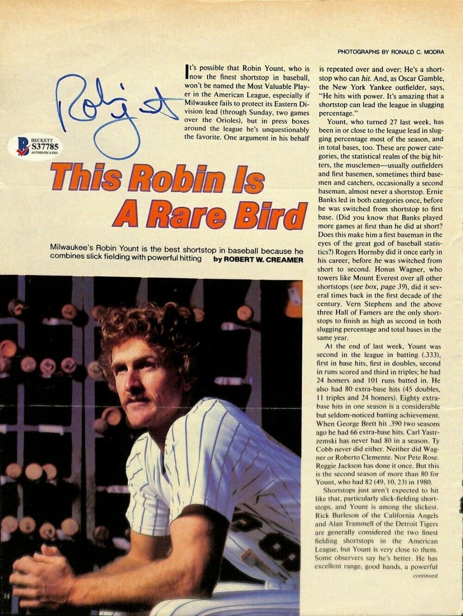 Robin Yount Signed Milwaukee Brewers Magazine Page BAS S37785 - Sports Integrity