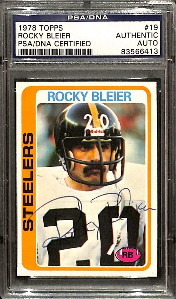 Rocky Bleier Signed 1978 Topps #19 Pittsburgh Steelers Football Card PSA/DNA - Sports Integrity