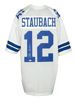 Roger Staubach Signed Custom White Pro-Style Football Jersey BAS