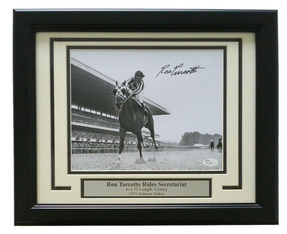 Ron Turcotte Secretariat Signed Framed 1973 Belmont Stakes 8x10 B&W Photo JSA - Sports Integrity