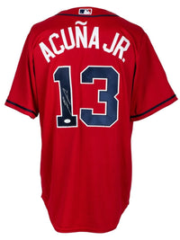 Ronald Acuna Jr. Signed Atlanta Braves Red Majestic Baseball Jersey JSA ITP - Sports Integrity