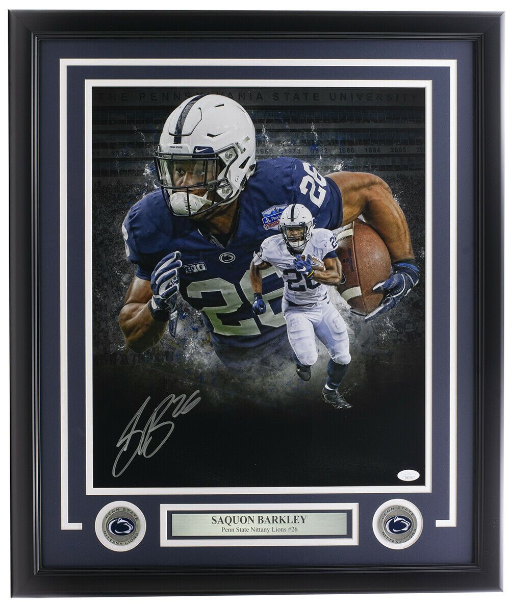 Saquon Barkley Signed Framed 16x20 Penn State Nittany Lions Collage Photo JSA - Sports Integrity