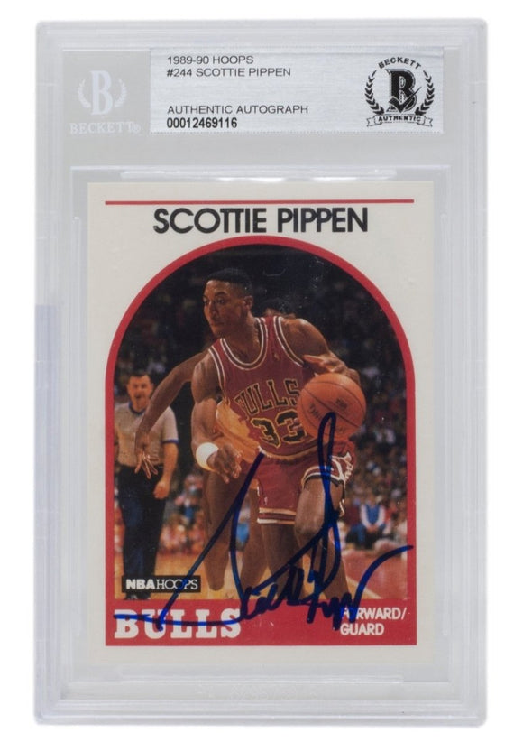 Scottie Pippen Signed 1989-90 Hoops #244 Chicago Bulls Basketball Card BGS - Sports Integrity
