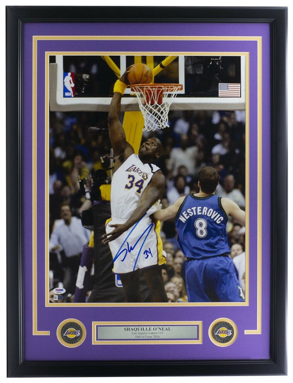 Shaquille O'Neal Signed Framed 16x20 Los Angeles Lakers Dunk Photo PSA/DNA - Sports Integrity
