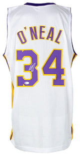 Shaquille O'Neal Signed White Custom Basketball Jersey w/Kobe 24 Patch BAS ITP - Sports Integrity