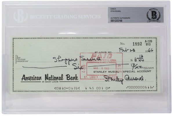 Stan Musial Signed St. Louis Cardinals Personal Bank Check #1892 BGS - Sports Integrity