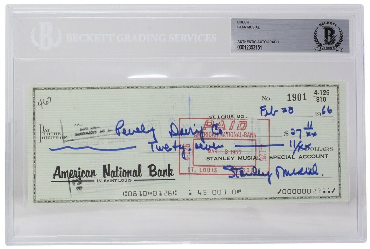 Stan Musial Signed St. Louis Cardinals Personal Bank Check #1901 BGS - Sports Integrity