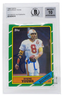 Steve Young Signed 1986 Topps #374 Tampa Bay Buccaneers Football Card BGS Auto10 - Sports Integrity