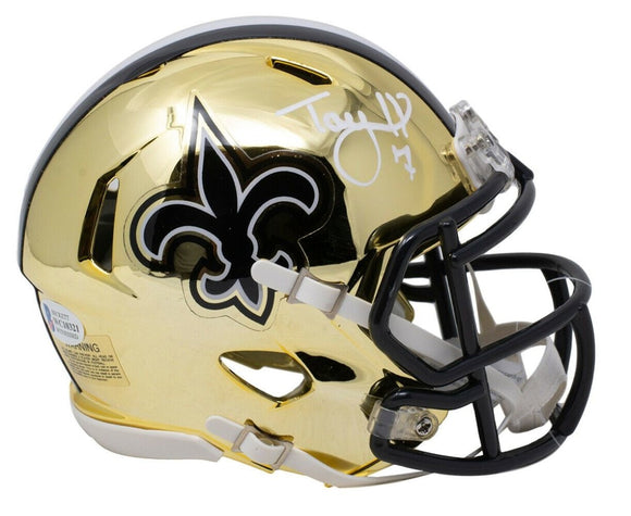 Taysom Hill Signed New Orleans Saints Mini Chrome Speed Replica Helmet BAS ITP - Sports Integrity