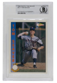 Tom Seaver Signed 1992 Pacific #AU1 New York Mets Baseball Card BGS - Sports Integrity