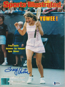 "Tracy Austin ""Youngest Open Winner"" Signed Sports Illustrated Magazine BAS - Sports Integrity"