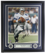 Troy Aikman Signed Framed Dallas Cowboys 16x20 Football Photo BAS Hologram - Sports Integrity