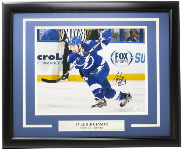 Tyler Johnson Signed Framed Tampa Bay Lightning 11x14 Hockey Photo JSA - Sports Integrity