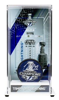 Victor Hedman Signed Lightning Stanley Cup Champs Logo Puck w/Case Fanatics - Sports Integrity