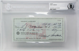Vince Lombardi Signed Slabbed Vintage 1968 Personal Check #234 BGS - Sports Integrity