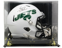 Vinny Testaverde Signed Jets Full Size Matte White Spd Rep Helmet w/Case JSA ITP - Sports Integrity