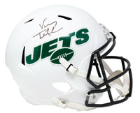 Vinny Testaverde Signed Jets Full Size Matte White Speed Replica Helmet JSA ITP - Sports Integrity
