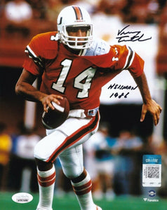 Vinny Testaverde Signed Miami Hurricanes 8x10 Football Photo 1986 Heisman JSA - Sports Integrity