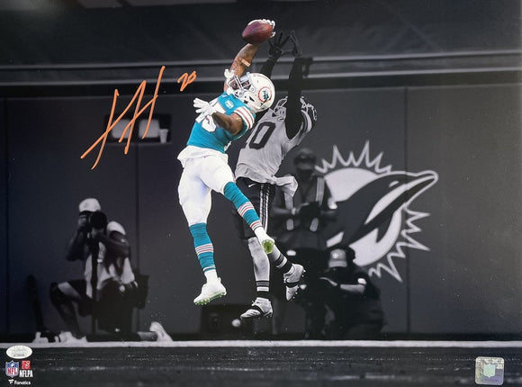Xavien Howard Signed 16x20 Miami Dolphins Spotlight Catch Photo JSA ITP - Sports Integrity