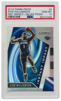 Zion Williamson 2019 Panini #2 Silver Prizm Instant Impact Card PSA GEM MT 10 - Sports Integrity