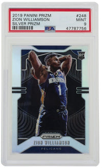 Zion Williamson 2019 Panini Prizm #248 Pelicans Silver Prizm Card PSA Mint 9 - Sports Integrity