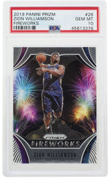 Zion Williamson 2019 Panini Prizm #26 Pelicans Fireworks Card PSA GEM MT 10 - Sports Integrity