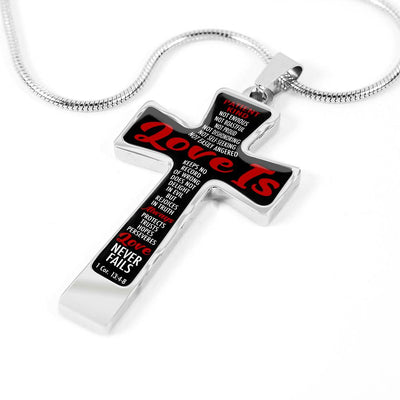 Love Never Fails Cross Luxury Necklace (Silver & Gold)