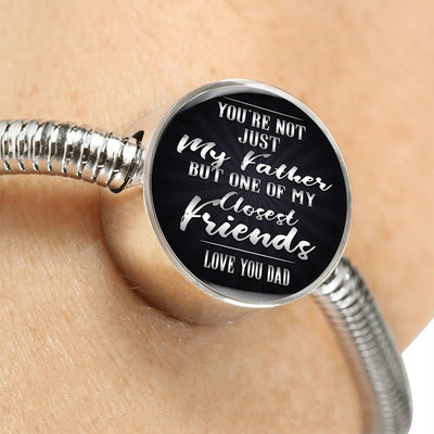 Love Dad Circle Steel Bracelet
