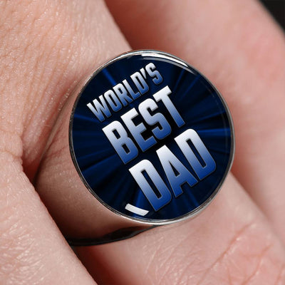 World's Best Dad Signet Ring (Silver & Gold)